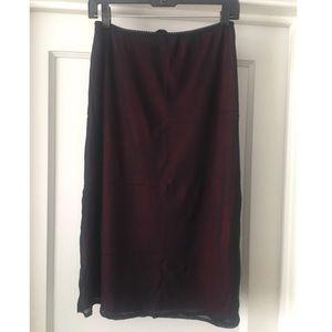 Vivienne Tam Black/Red Stretch Nylon Pencil Skirt